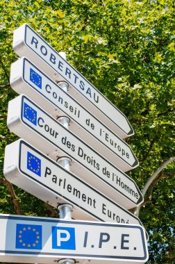 Road sign in European Capital of Strasbourg