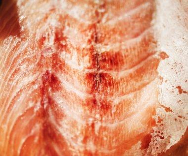 Fresh salmon filet, extreme close-up