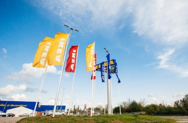 IKEA Store flags near its entrance.