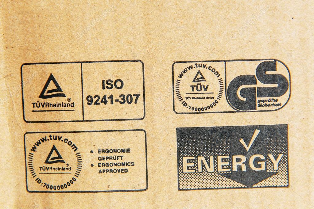 TUV Rheinland, German Stadard, Energy, Iso signs on a