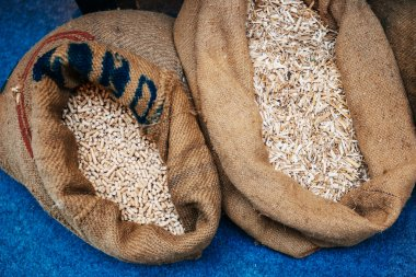 Pellets made from sawdust next to eachother