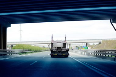 Truck  trailer exiting Hungarian tunnel