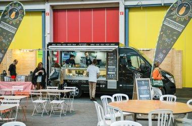 Food truck in France selling bio food