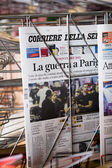 front covers of  Corriere della sera newspapers