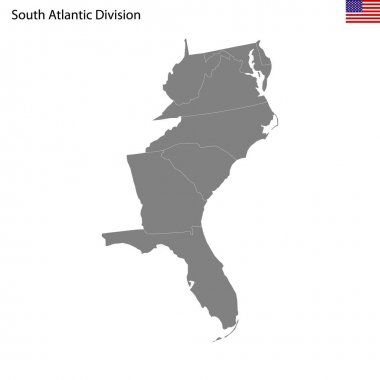 High Quality map of South Atlantic division of United States of America with borders of the states