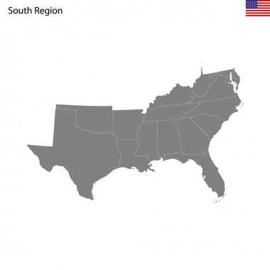 High Quality map of South region of United States of America with borders of the states