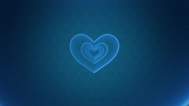Blue glossy hearts concept motion background. Abstract Valentines Day greeting card motion design. Seamless looping. Vertical video animation Ultra HD 4K 2160x3840. Great for social media kiss post
