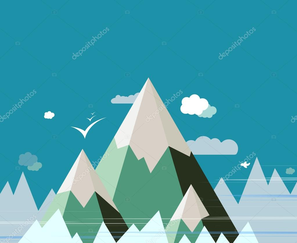 Diseño de vector de paisaje de montaña Resumen — Vector de stock ...