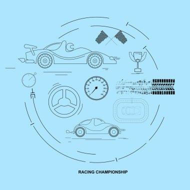 Racing Car Championship. Icon set. Vector
