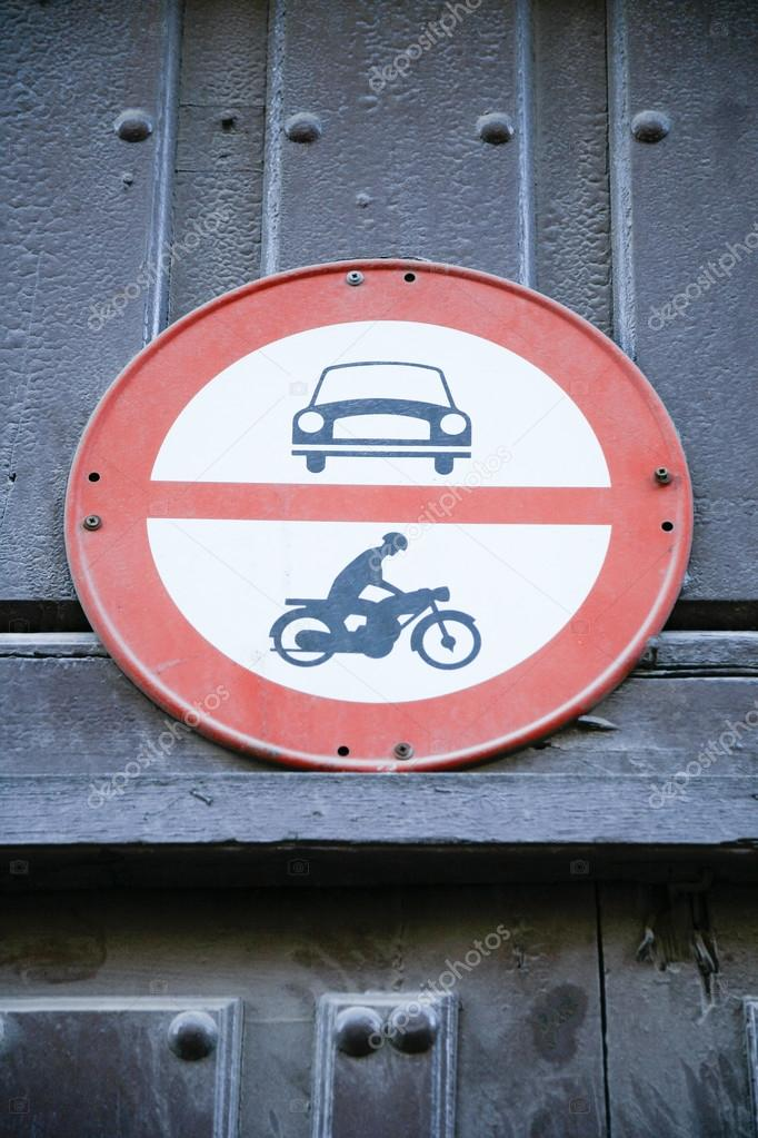 Forbidden Entry To Cars And Motorbikes Signal Stock Photo