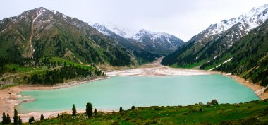 Big Almaty Lake panorama, Tien Shan Mountains in Almaty, Kazakhs
