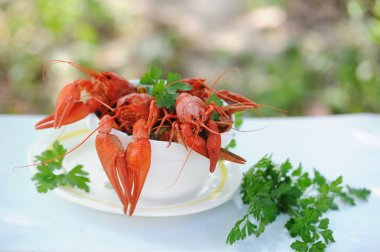 White bowl of boiled crayfish outdoor
