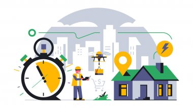 Online parcel delivery service to your home. A flying drone delivers a parcel to the house. Future technologies, flying machine, courier, time, stopwatch, route. Vector illustration