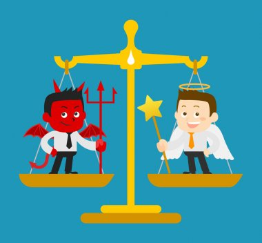 Business Angel and Devil on  scale