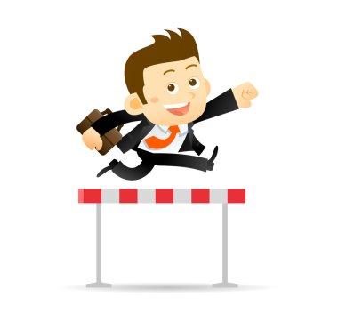 Businessman jumps over  hurdle