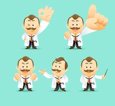 Vector Set of Cartoon Doctors Character, vector illustration clip art vector