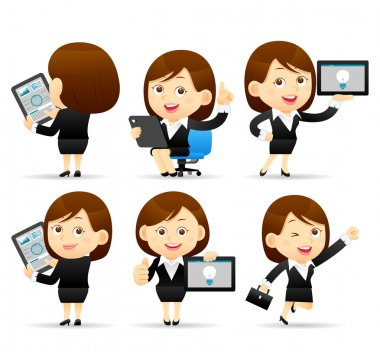 Businesswoman character holding tablet pc