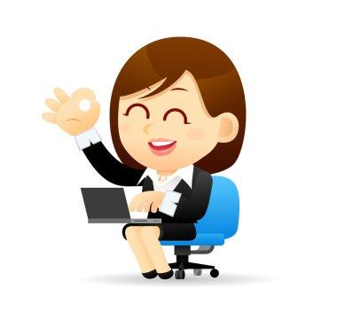 Cartoon Businesswoman & laptop