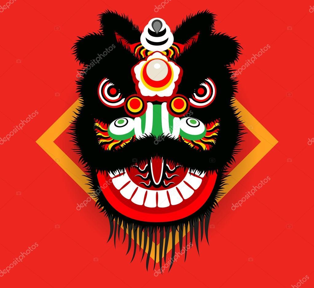 Cartoon Chinese lion head