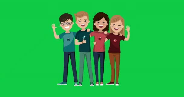 Four friends hugged together. Youth people animation. Happy boys and girls. Video on green background