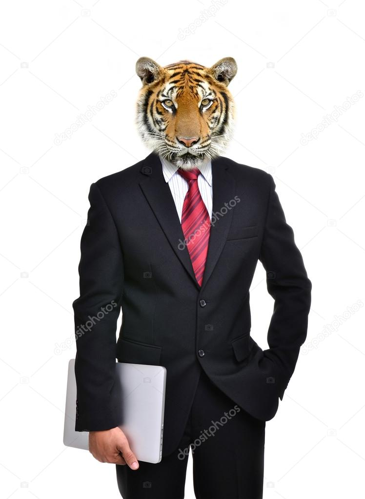 business man with animal head isolated