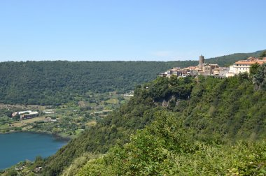 The town of Nemi and its volcanic lake in the Castelli Romani -