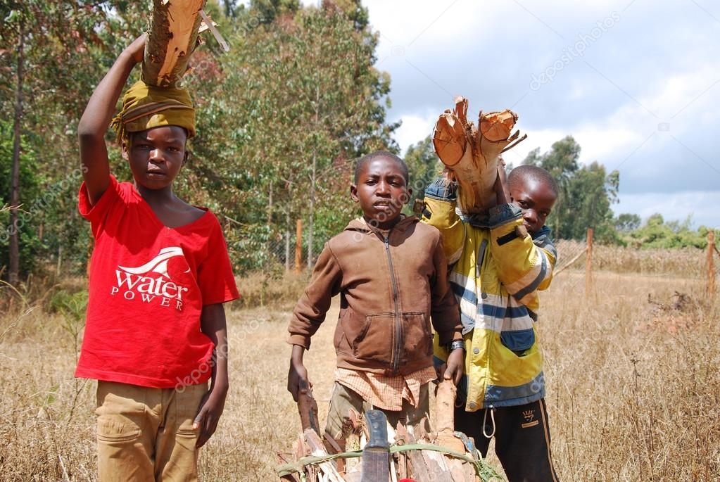 African children to work carrying firewood for cooking and heati