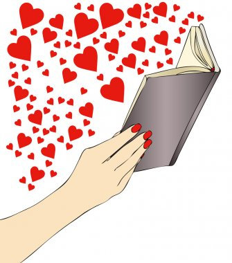 A woman while reading an exciting novel of love stock vector