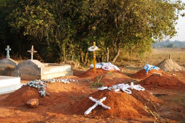 The graves of the cemetery of the village Pomerini Tanzania, Afr