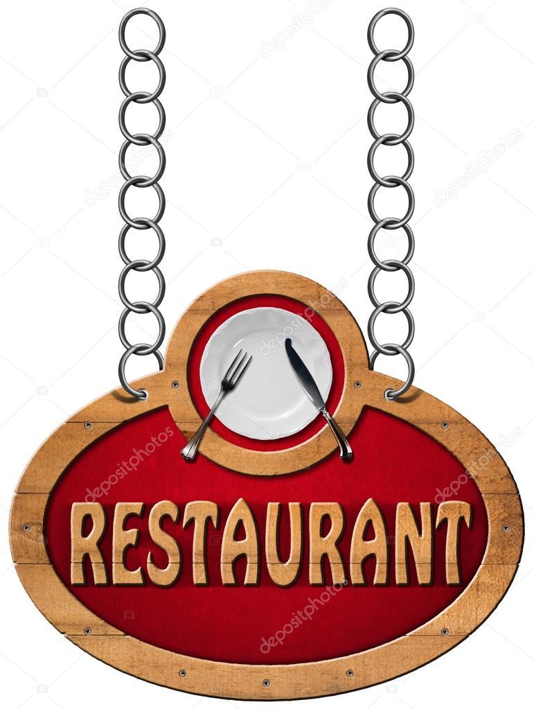 Cartel de restaurante con cadena de Metal — Foto de stock © catalby ...