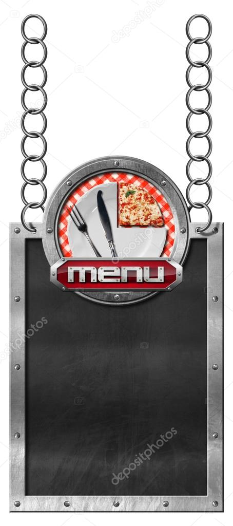 pizza menu empty blackboard with chain stock photo catalby