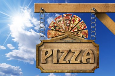 Pizza - Wooden Sign with Metal Chain