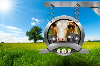 Dairy Products - Metal Sign in Countryside