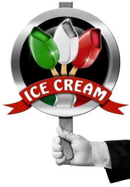 Italian Ice Cream Sign with Hand of Chef