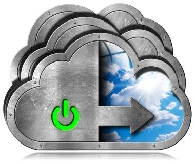 Cloud Computing Symbol with Sky