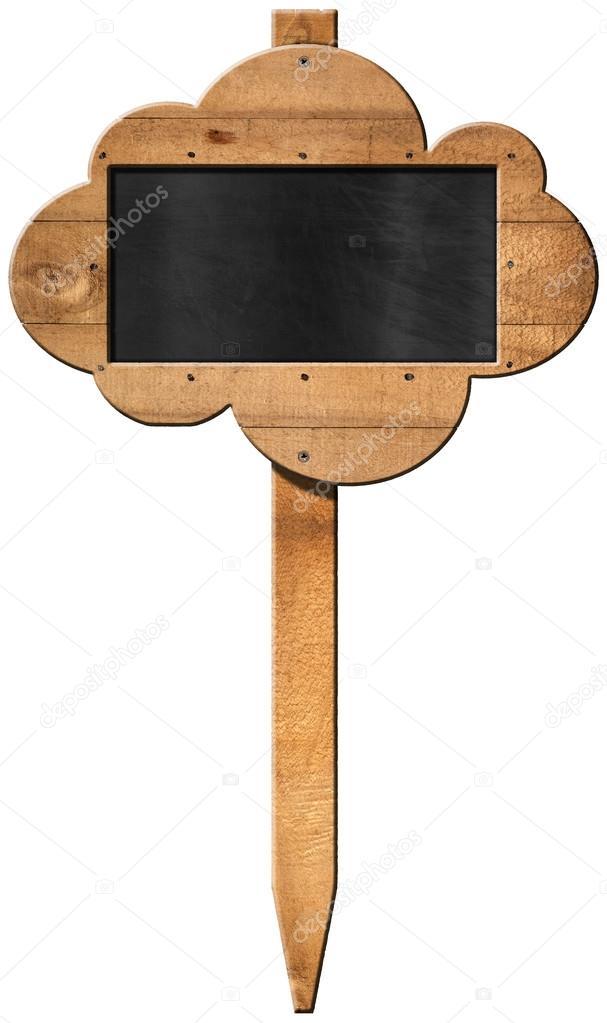 Pizarra nube en forma de - cartel de madera con poste — Foto de ...