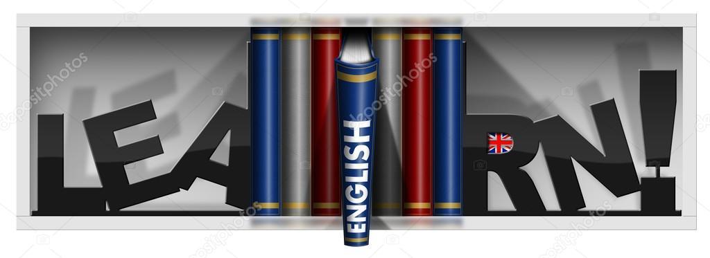 Learn English - boekenkast met Engels boeken — Stockfoto © catalby ...