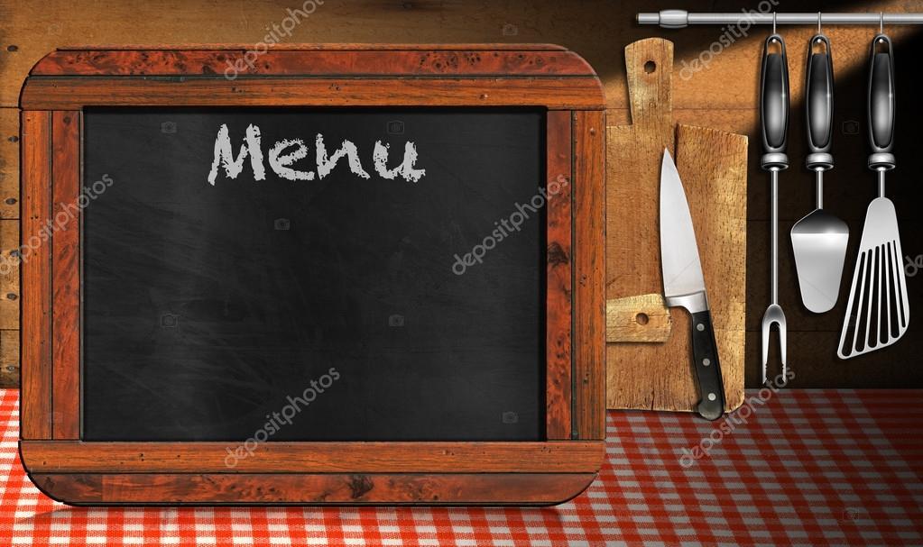 Men de pizarra en la cocina foto de stock catalby - Pizarras de cocina ...