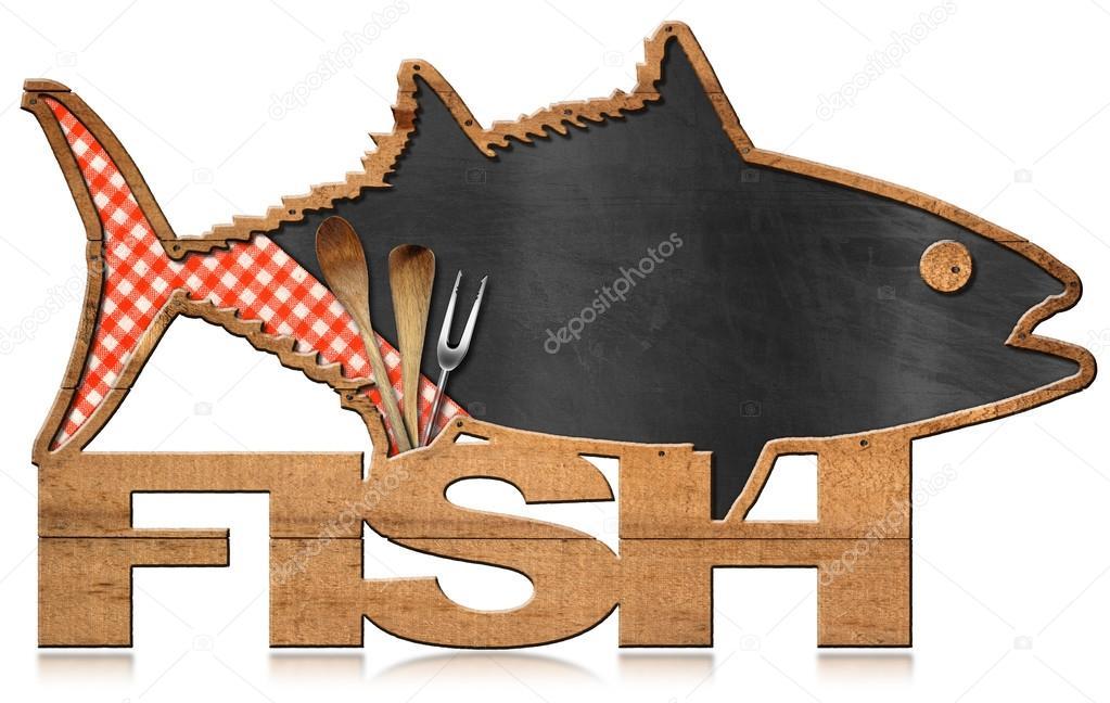En forma de pescado de pizarra - menú de pescado — Foto de stock ...