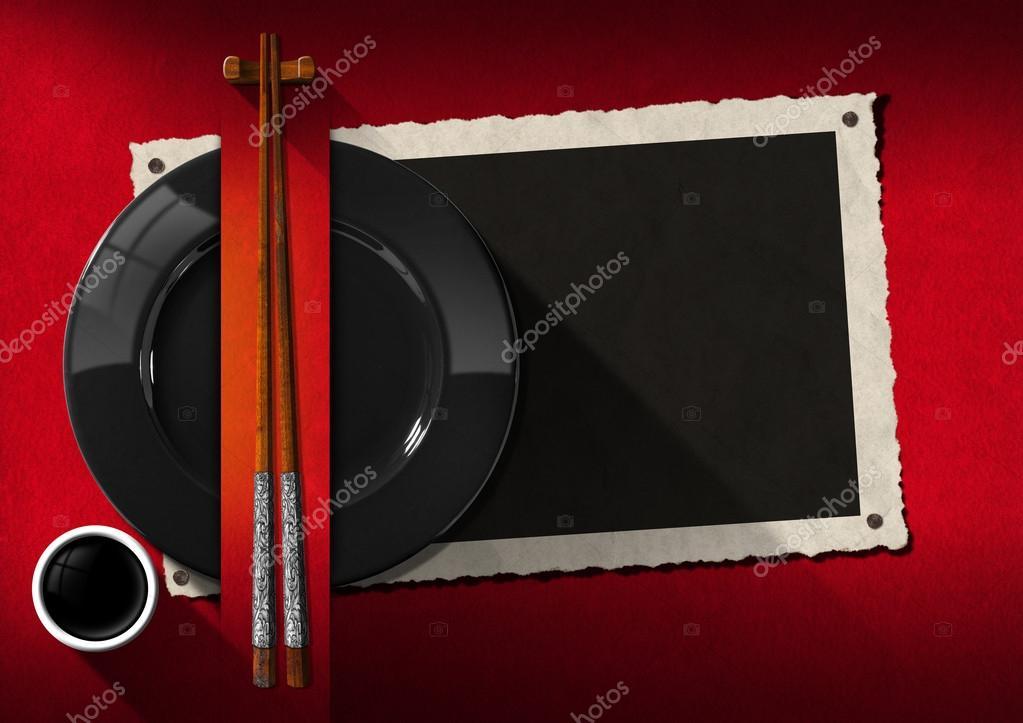 Menú de restaurante asiático con marco de fotos — Foto de stock ...