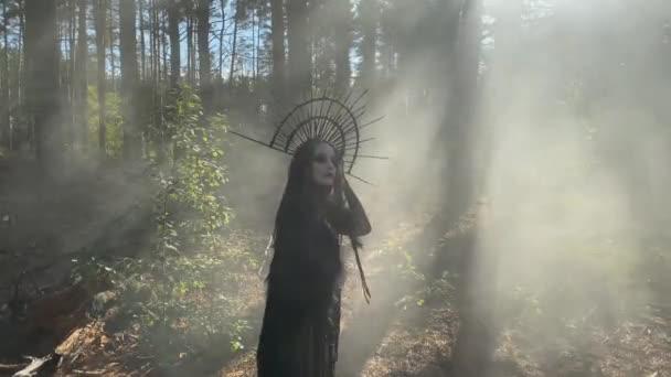 Mladá žena v obraze čarodějnice stojí v černých šatech a korunu na hlavě v pronikl sluneční paprsky mlhavý les.