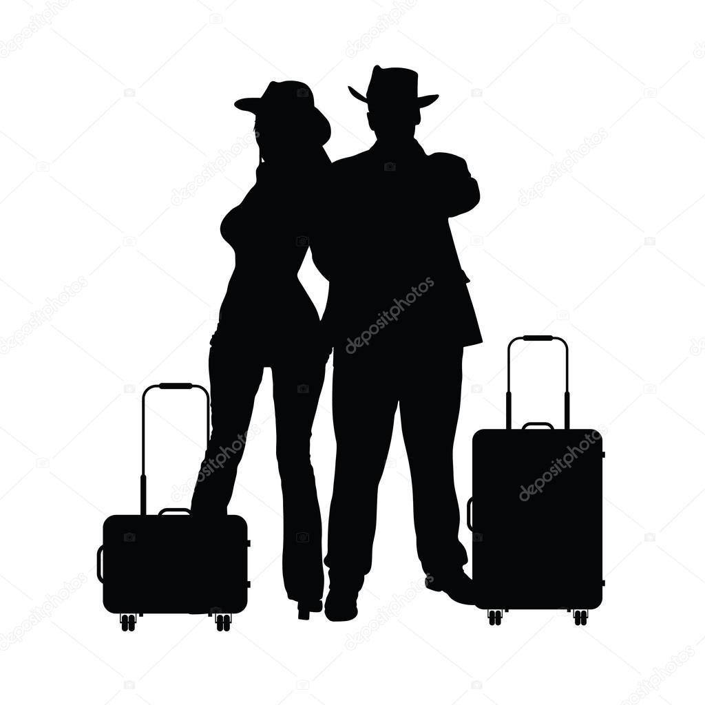 カップルは旅行バッグ イラスト シルエット黒 — ストックベクター
