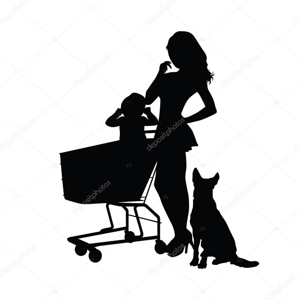 赤ちゃんと動物のシルエット イラスト女の子 — ストックベクター