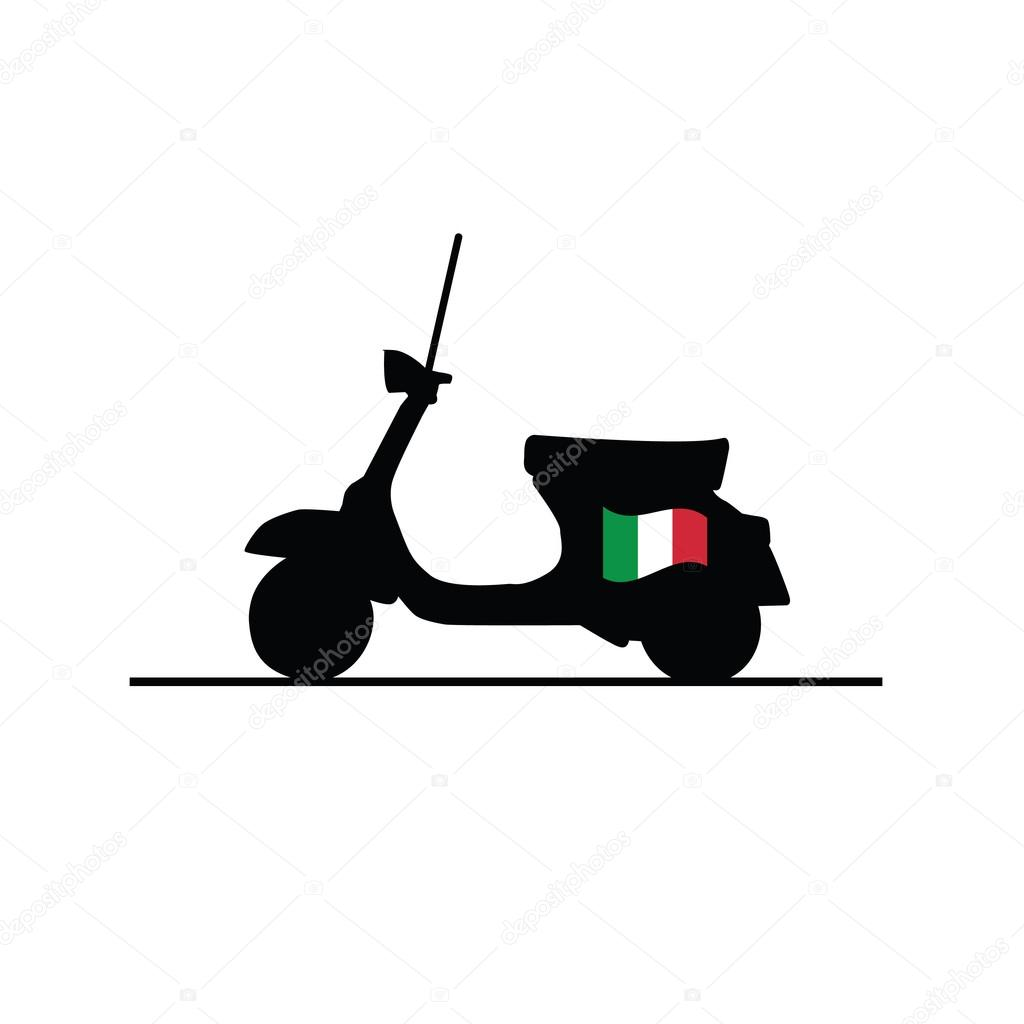 Scooter with italy flag vector