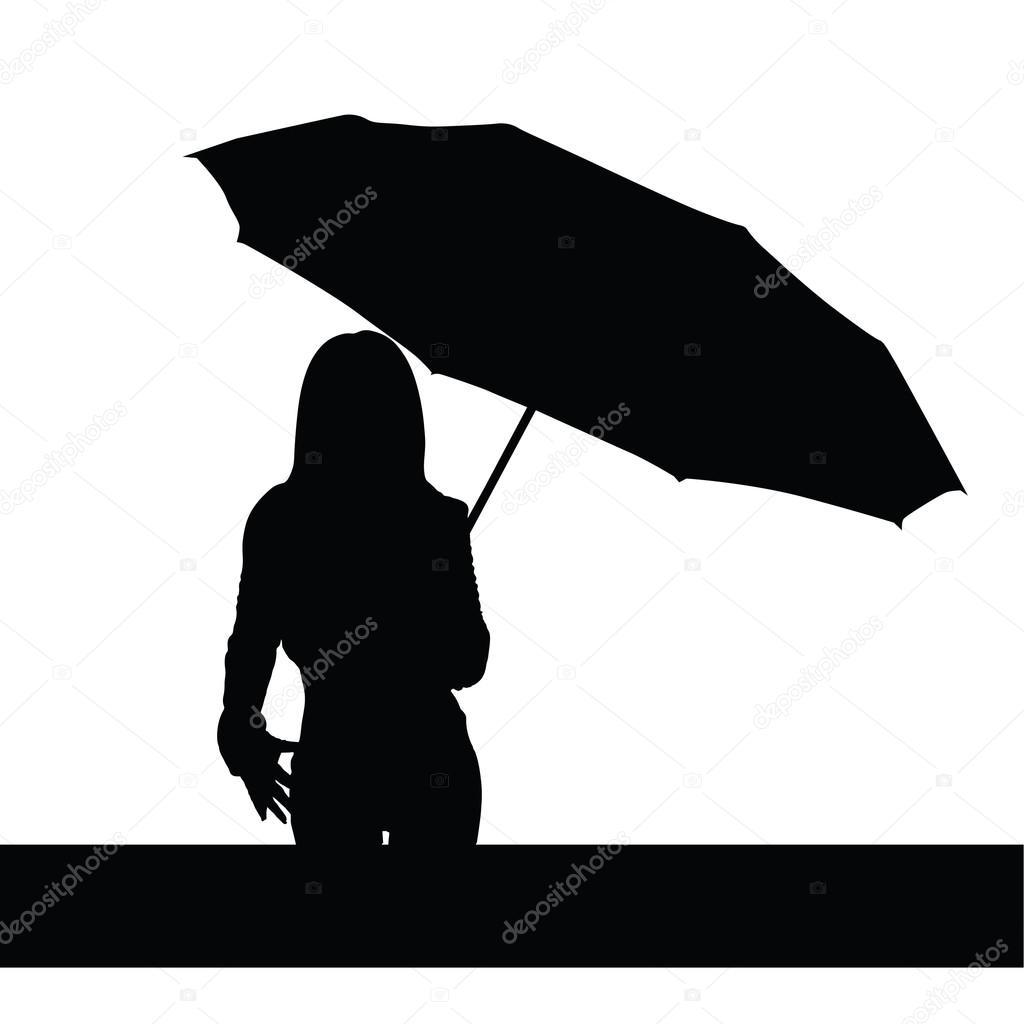 girl with umbrella black vector illutration stock vector drgaga 74467431. Black Bedroom Furniture Sets. Home Design Ideas
