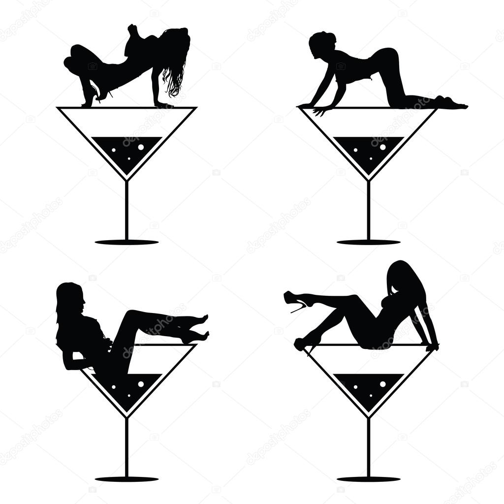 Girl and martini black vector silhouette