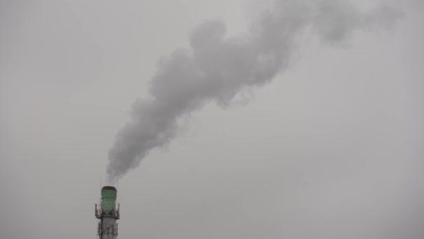 Dichter weißer Rauch aus dem Schornstein der Anlage. Emissionen aus einer großen Anlage. Fliegen in der Nähe des rauchenden Kamins der Fabrik