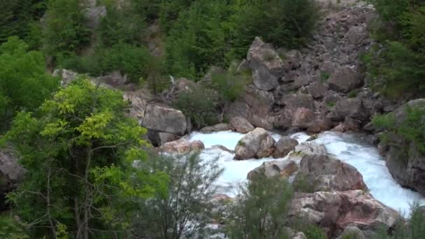 Wild mountain river flowing through stone boulders. Abundant clear stream in albania. Cold water splashing near rapids. Small cascade from rocks in national park. Water background concept