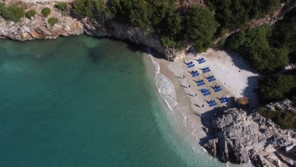 idyllic tropical coastline aerial view, paradise beach in Albania, vacations, holiday concept