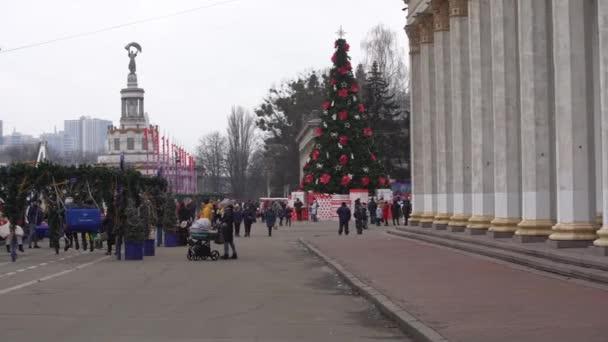 Kyjev Ukrajina - 11. ledna 2021: Vánoční trh v Kyjevě, na území Národního komplexu Expocenter Ukrajiny VDNH
